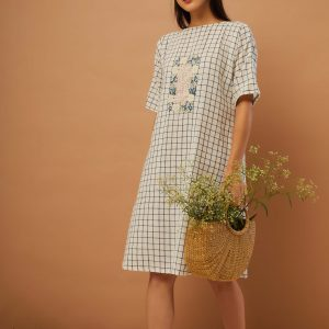 Window Pane Shift Dress