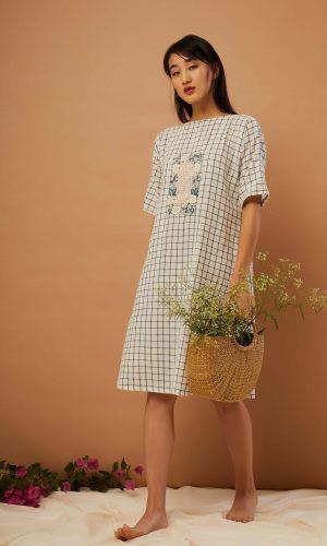 Window Pane Handloom Dress