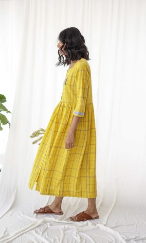 Shameez Handloom Dress Mustard